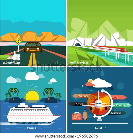 Icons set of traveling, planning a summer vacation, tourism and journey objects and passenger luggage in flat design. Different types of travel such as hitchhiking, cruise, aviatur and rail tourism - stock vector