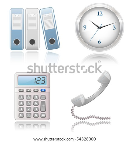 Icons Set - Office supplies. Highly detailed icons with a reflection. - stock vector