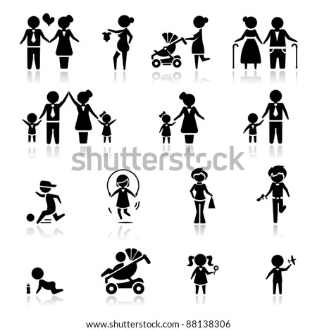 Icons set people and family