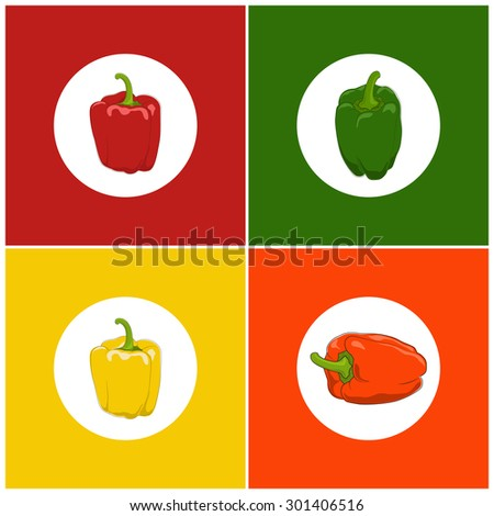 Icons Set Pepper , Set of Vegetables Icons, Icons Red, Orange, Green and Yellow Pepper, Vector Illustration - stock vector