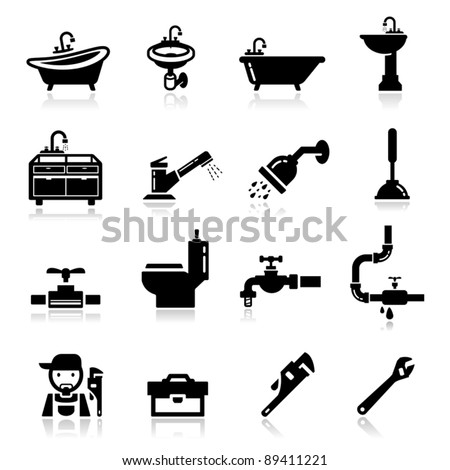 Icons set Plumbing - stock vector