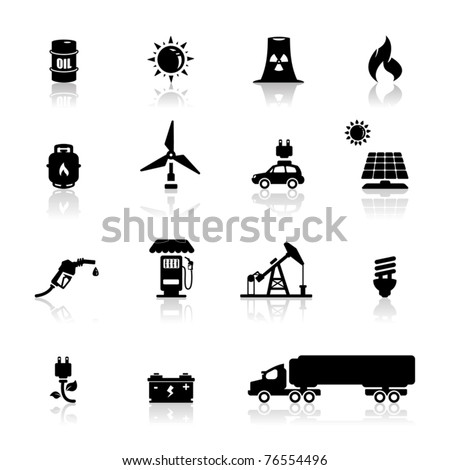 Icons set power and energy - stock vector