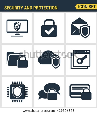 Icons set premium quality of cyber security, computer network protection. Modern pictogram collection flat design style symbol . Isolated white background - stock vector