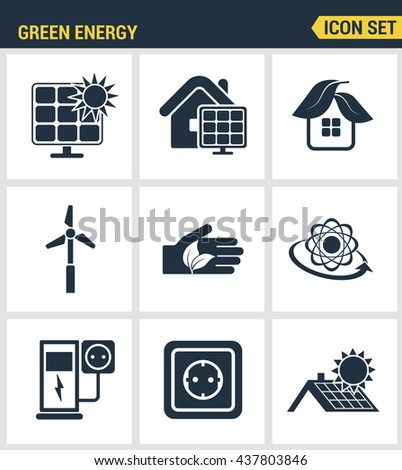 Icons set premium quality of eco friendly green energy, clean sources  power. Modern pictogram collection flat design style symbol. Isolated white background.