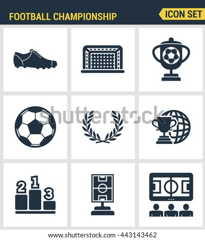 Icons set premium quality of football championship soccer game world cup. Modern pictogram collection flat design style symbol. Isolated white background - stock vector