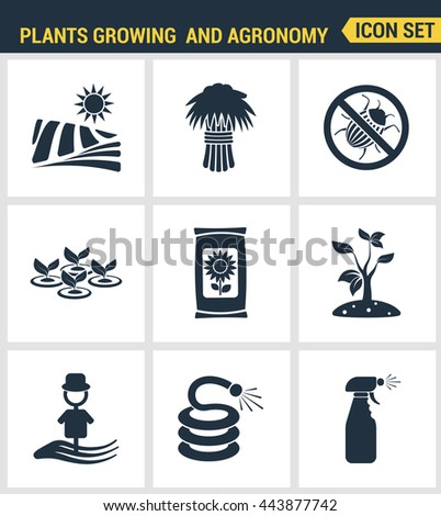 Icons set premium quality of plants growing and agronomy farming farmer bio stem. Modern pictogram collection flat design style symbol collection. Isolated white background. - stock vector