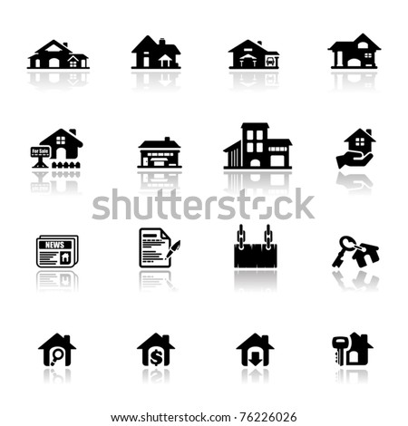 Icons set real estate - stock vector