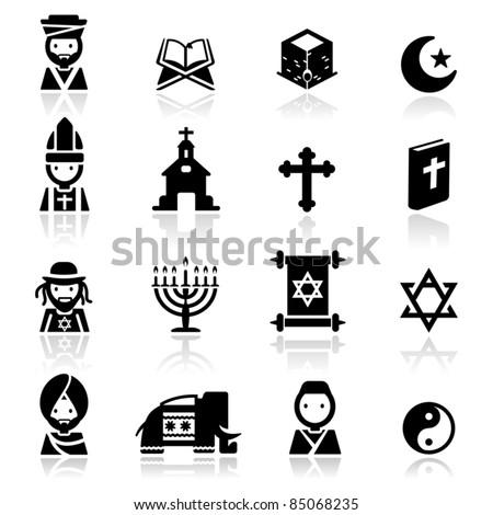 Icons set Religions - stock vector