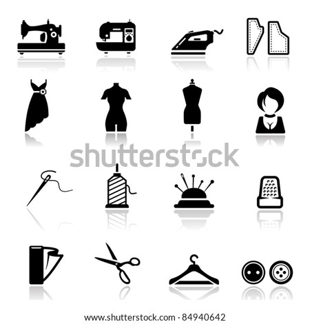 Icons set Sewing and fashion - stock vector
