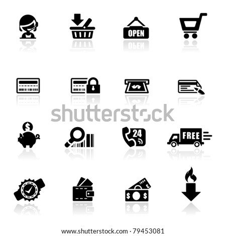 Icons set Shopping - stock vector