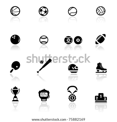 Icons set sports and games - stock vector
