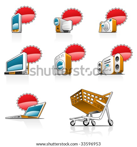 icons set- There is a place for an price or discount. Simple gradients only - no gradient mesh. - stock vector