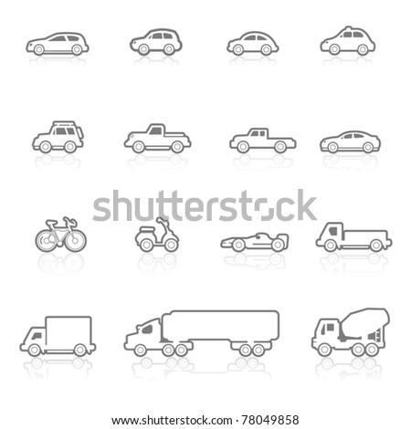 Icons set vehicles - stock vector