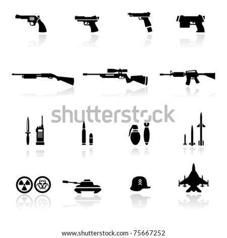 Icons set Weapons - stock vector