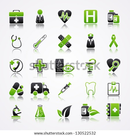 Icons set with reflection: Medicine - stock vector