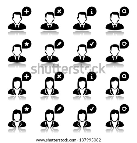 Icons set with reflection: Users - stock vector