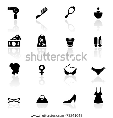 Icons set woman accessories - stock vector