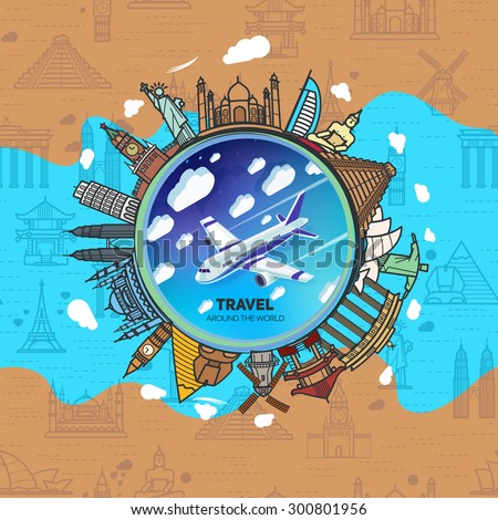 Icons sights of the world around a flying plane against the sky with clouds. Seamless background with a pattern tourist attractions icons. Topic Travel and Tourism landmarks all over the world. - stock vector
