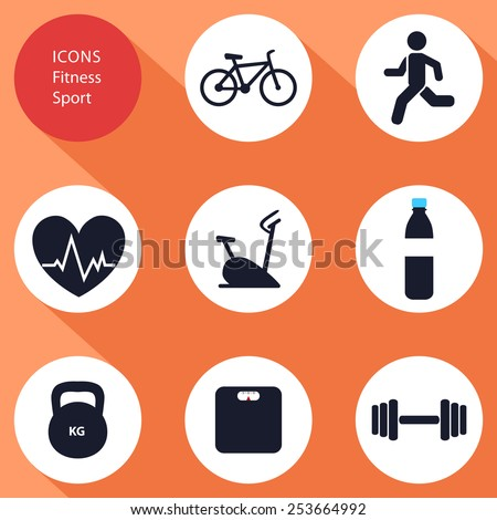 Icons, sports, fitness, flat design, vector - stock vector