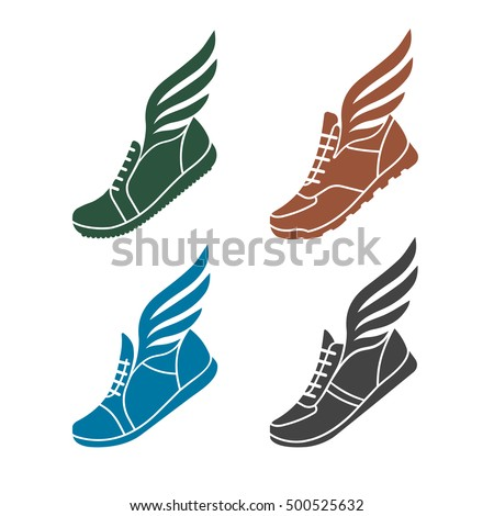 icons sports shoes wings stock vector 500525632 shutterstock rh shutterstock com golden shoe with wing logo shoe with wing logo