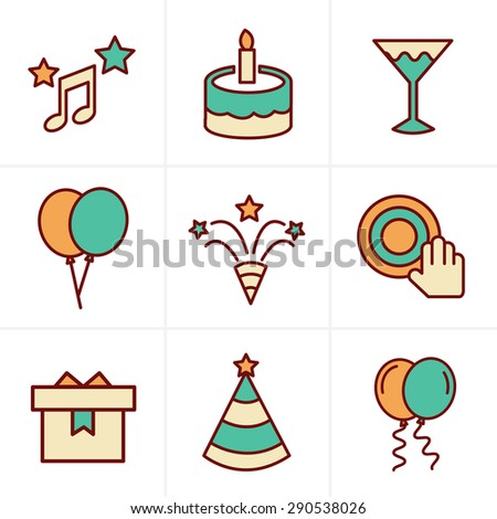Icons Style party Icons Set, Vector Design