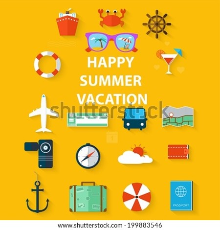 Icons summer vacation in a flat style on yellow background - stock vector