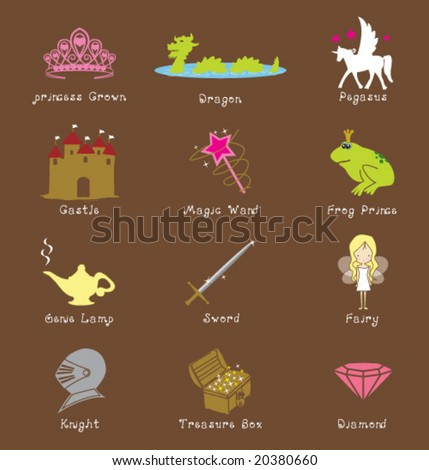 ICONS SYMBOLS AND GRAPHIC ELEMENTS FROM FANTASY WORLD. For conceptual projects, stickers, cards, blog, printables, etc. Vector illustration file. - stock vector