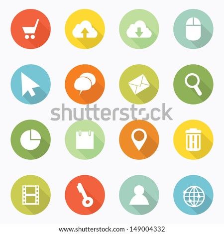 Icons web long shadow design - stock vector