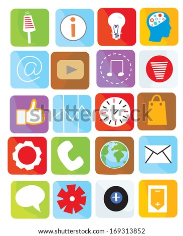 Icons web set funny design bright illustration - stock vector