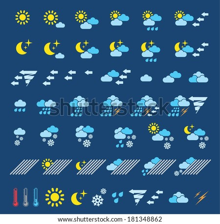 Icons which represent weather conditions - stock vector