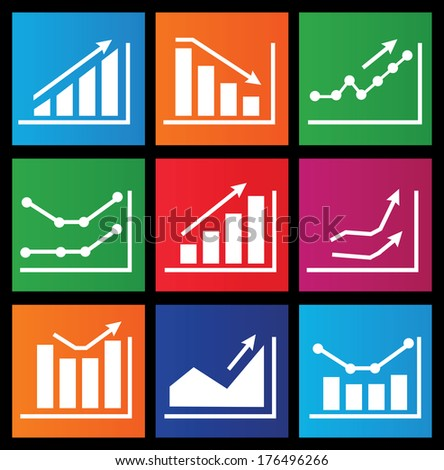 Icons with charts for design - stock vector