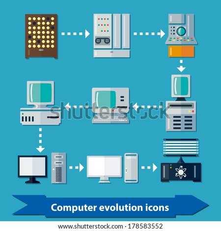 Icons with computer evolution in flat colors. Computer infographics. From oldest lamp computer to quantum - stock vector