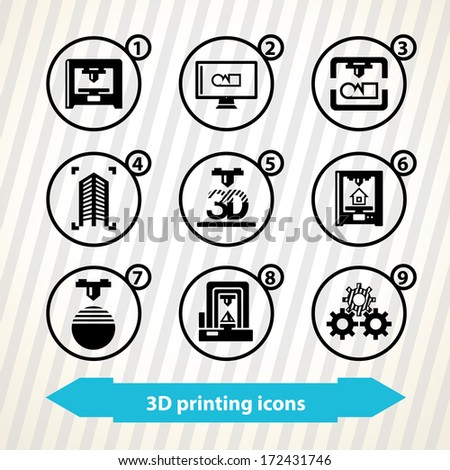 Icons with 3d printing concept. 3d printers  - stock vector