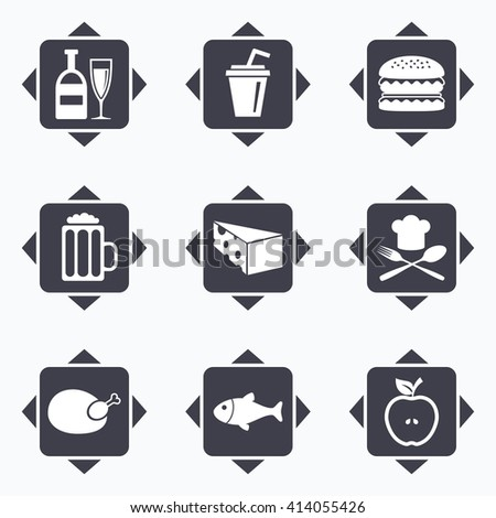 Icons with direction arrows. Food, drink icons. Beer, fish and burger signs. Chicken, cheese and apple symbols. Square buttons. - stock vector