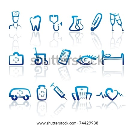 Icons with doodles medicine symbols - stock vector