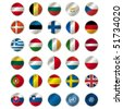 icons with european union flags, vector , illustration - stock vector