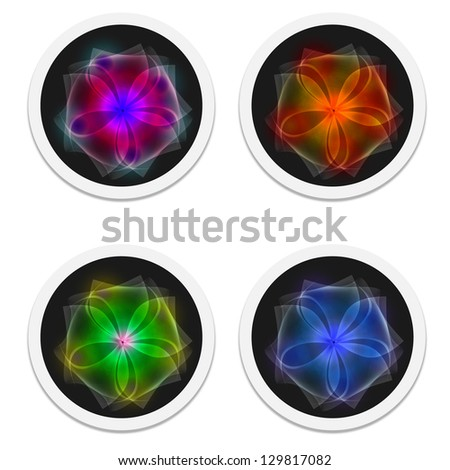 icons with flower - stock vector
