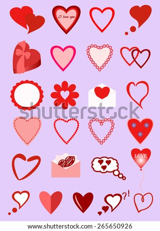 icons with hearts - stock vector