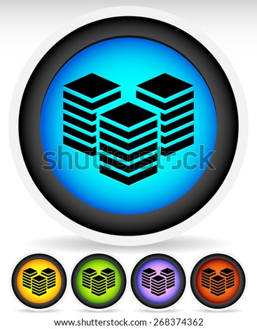 Icons with Layered Tower Symbols for Webhosting, Server, Database Concepts - stock vector