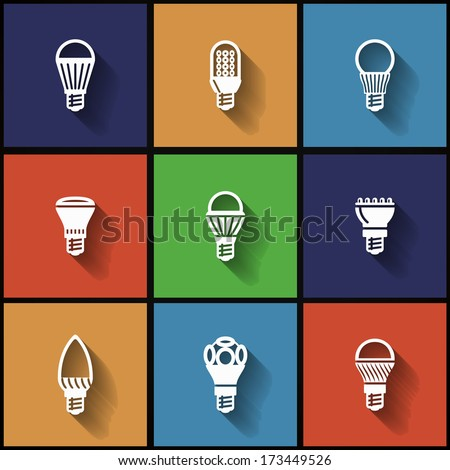 Icons with modern LED lamps in flat style. Long shadow style - stock vector