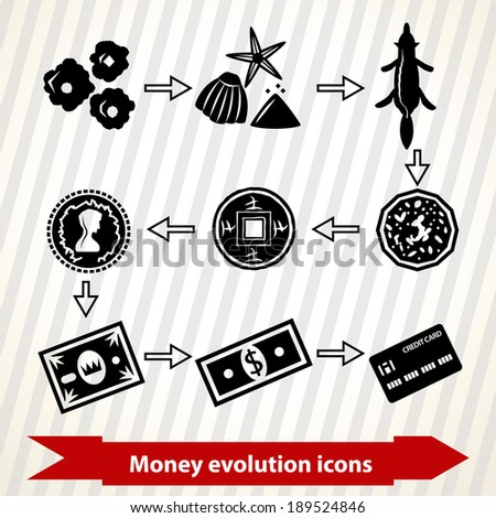 Icons with money evolution in minimal style from stones to credit card - stock vector