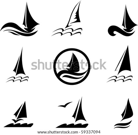 Icons with the image of yachts on a white background.  - stock vector
