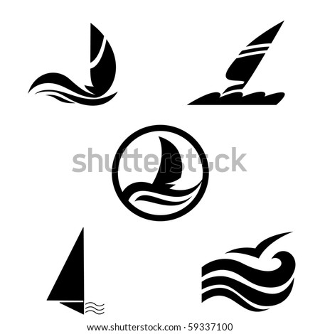 Icons with the image of yachts on a white background. Company logo design. - stock vector