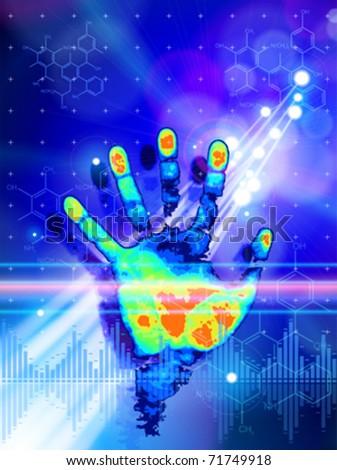 ID concept: color handprint, blue technology background, lights, chemical formulas & digital wave - stock vector