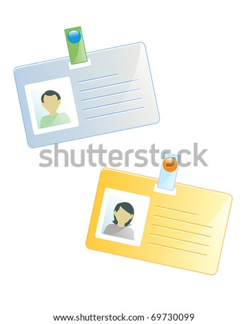ID tags of a man and a woman (eps10 file) - stock vector
