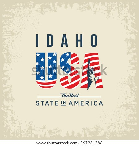 Idaho best state in America, white, vintage vector illustration