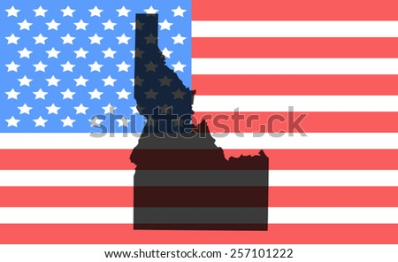 idaho map on a vintage american flag background - stock vector