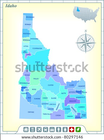 Idaho State Map with Community Assistance and Activates Icons Original Illustration - stock vector