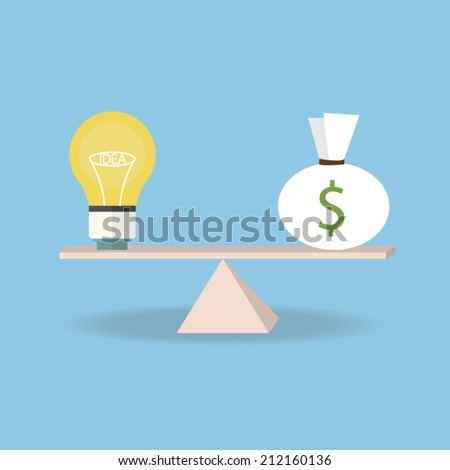 idea and money on the scale. Money concept, flat design - stock vector