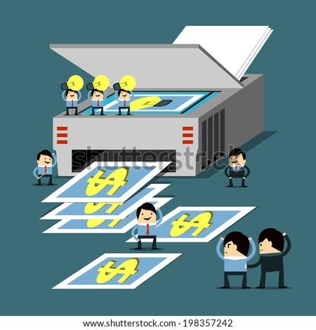 Idea and teamwork is money - stock vector